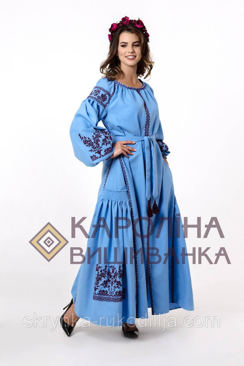 """Заготовка під вишивку """"Сукня жіноча в стилі БОХО"""" ПЛд-025-1 максі лонг (Кароліна вишиванка)"""