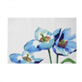 Коврик сервировочную под столовые приборы, 30х45 см, Голубые цветы