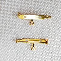 Основа для броши с бейлом 32х12 мм, позолота