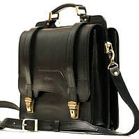 Деловой кожаный портфель DaVinci чёрный