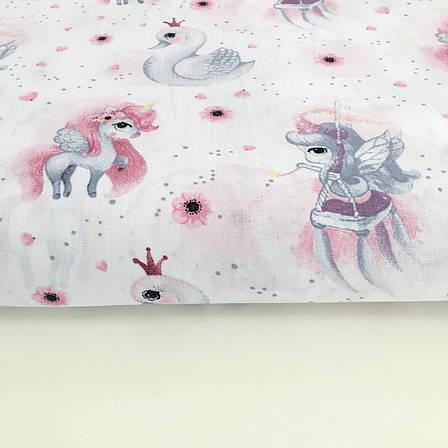 """Польская хлопковая ткань """"единороги с феями и лебедями на белом"""", фото 2"""