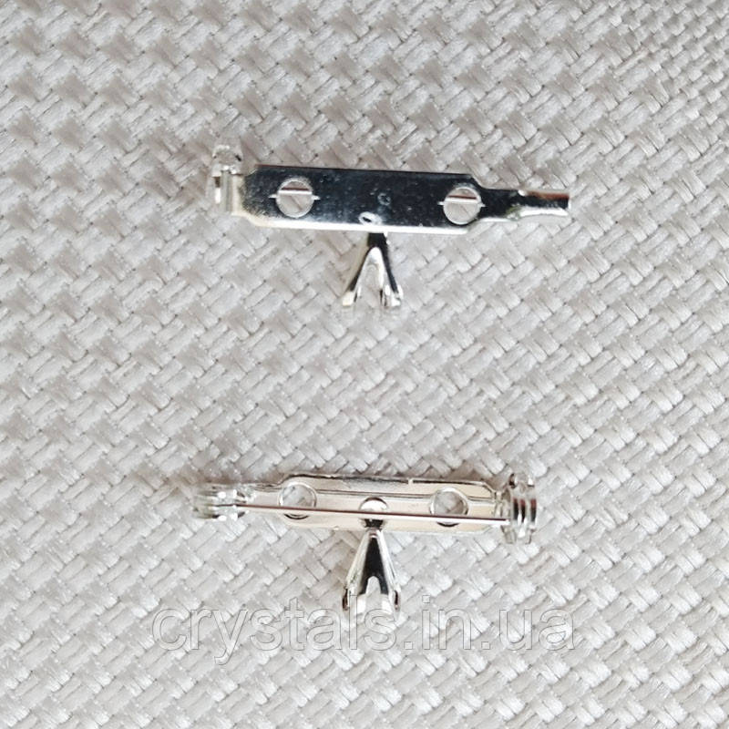 Основа для броши с бейлом 27х12 мм, посеребренная
