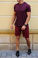 Мужской летний комплект  - бордовые  шорты и футболка цвета на выбор   S, M, L, XL, XXL