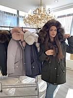 Парка, куртка с натуральным мехом финского песца