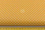 Лоскут ткани хлопковая с горошком 4 мм на горчичном фоне №1971, размер 41*80 см, фото 2