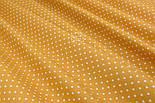 Лоскут ткани хлопковая с горошком 4 мм на горчичном фоне №1971, размер 41*80 см, фото 3