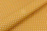 Лоскут ткани хлопковая с горошком 4 мм на горчичном фоне №1971, размер 41*80 см, фото 4