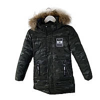 Камуфляжная зимняя куртка на мальчика 11-16 лет. Размеры 146-170, есть замеры