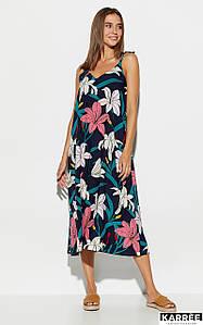 Темно-синее летнее широкое платье с лилиями на бретелях