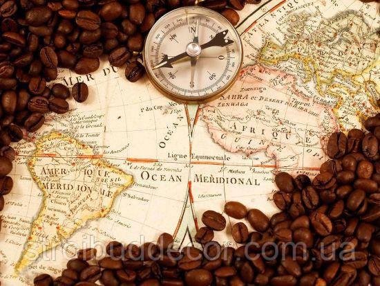 Фотообои для декора стен карта, компас, кофе  разные текстуры , индивидуальный размер