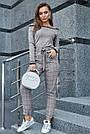 Женская трикотажная кофта серая с люрексом, повседневная, молодёжная, элегантная, с открытыми плечами, фото 2