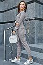 Женская трикотажная кофта серая с люрексом, повседневная, молодёжная, элегантная, с открытыми плечами, фото 4
