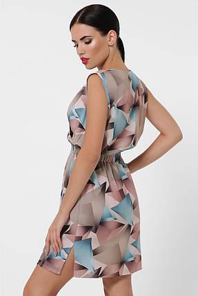 Приталенное летнее платье мини на резинке бирюза, фото 2