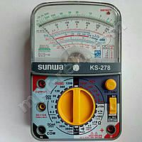 Мультиметр аналоговий SUNWA KS-278 (1200В, 12A, 20МОм, звукова продзвонювання, тест батарей)