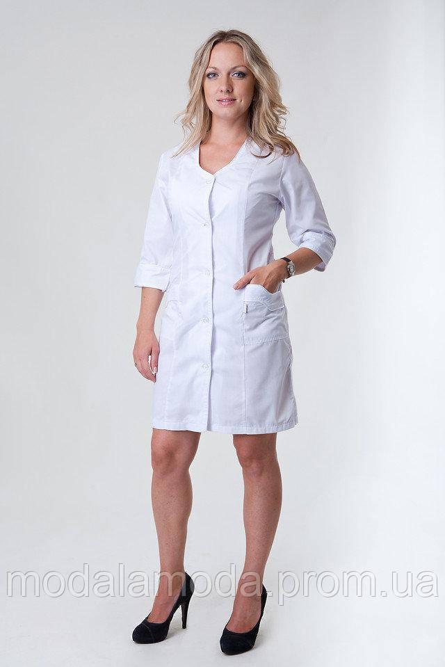 Халат медицинский женский однотонный с карманами