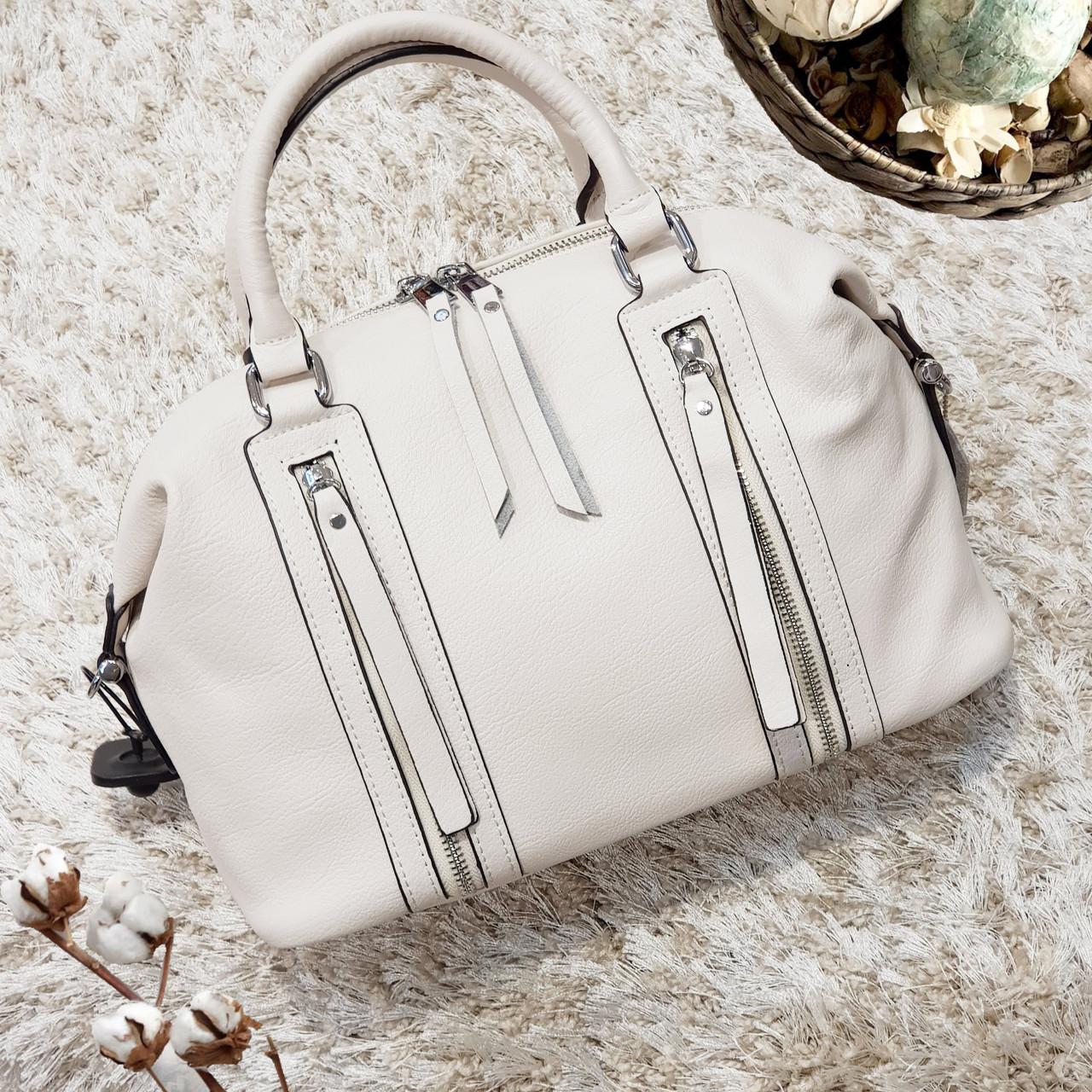 Женская белая сумочка из натуральной кожи