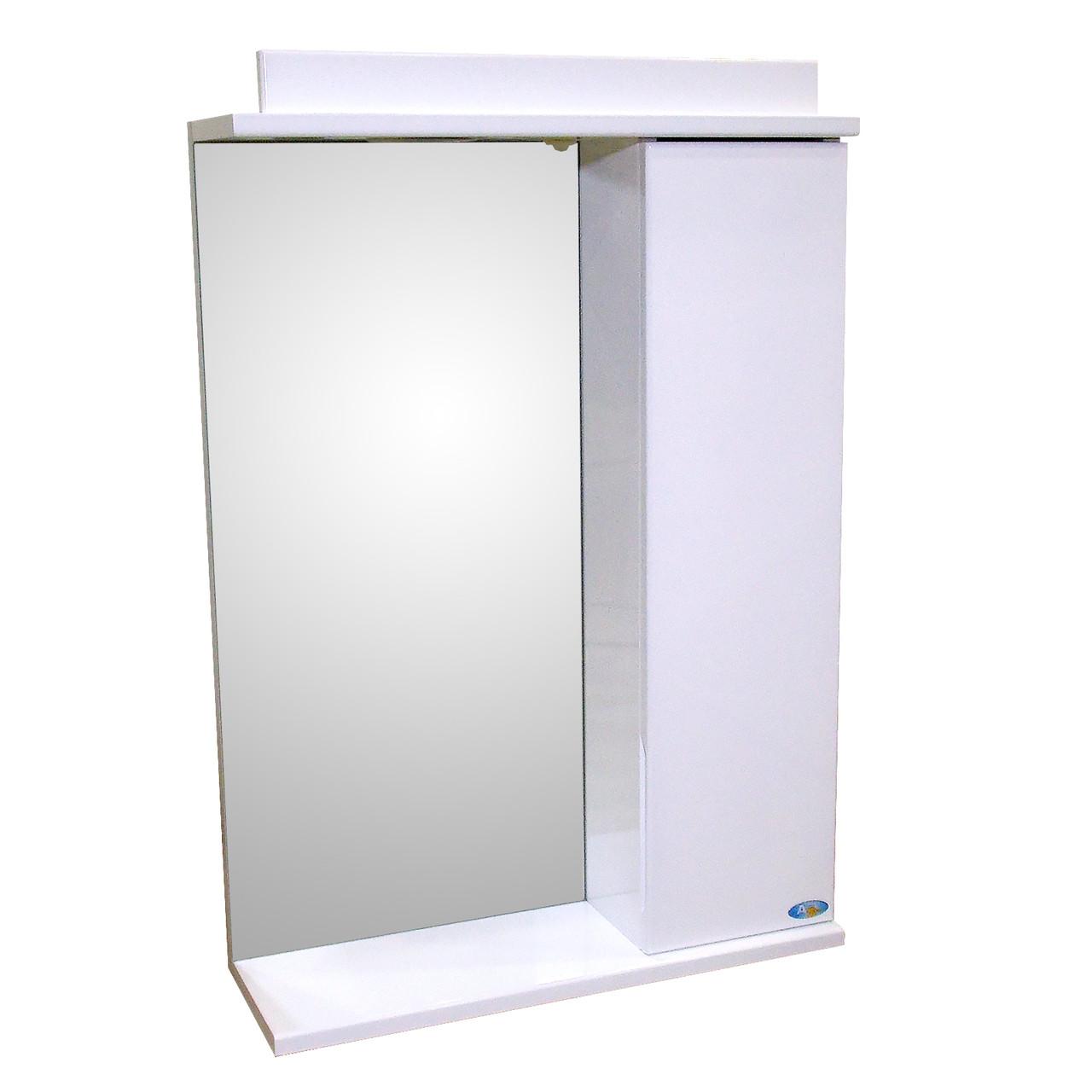 Зеркало 55 для ванной комнаты с подсветкой и шкафчиком Лаконика белый