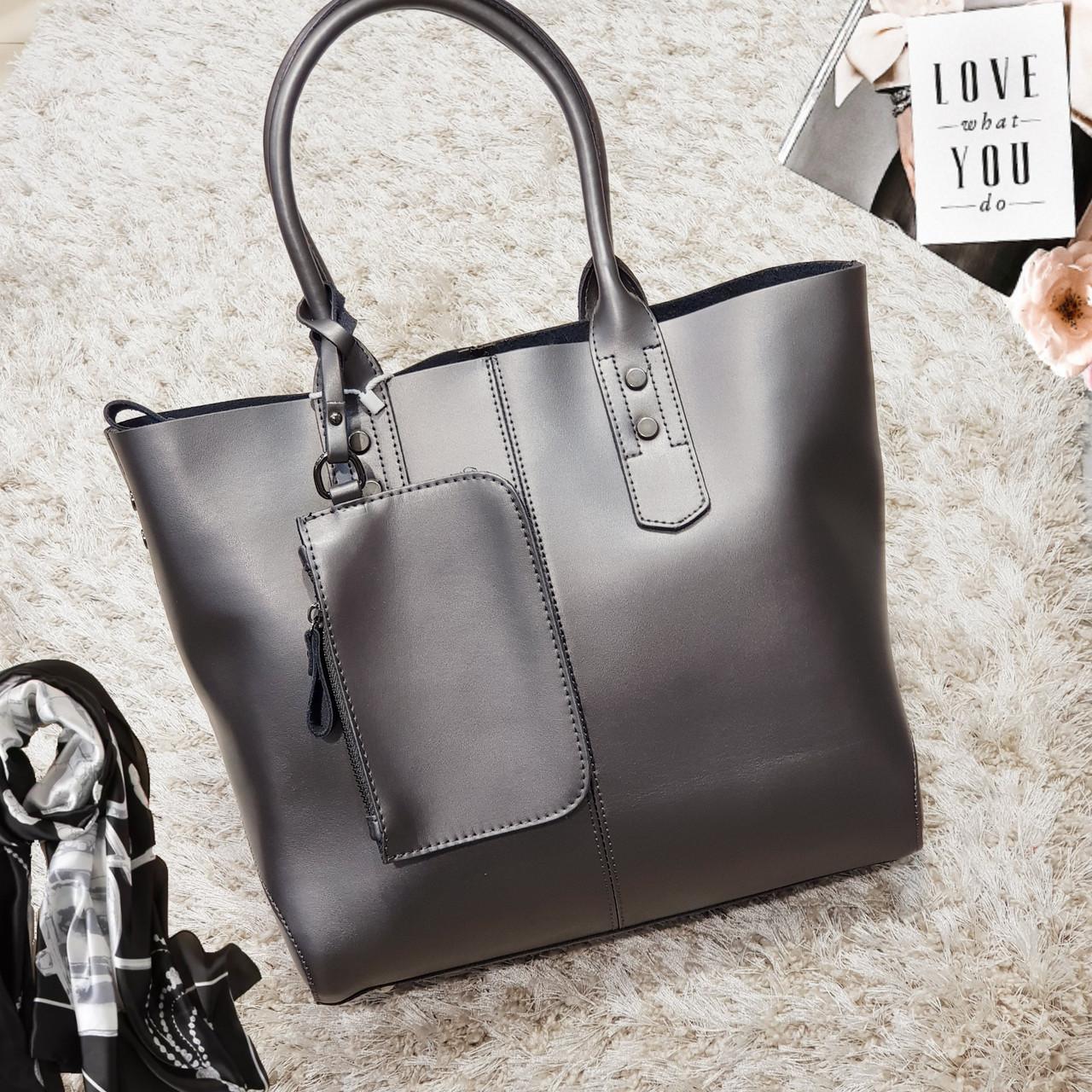 Жіноча темно-срібна сумочка з натуральної шкіри