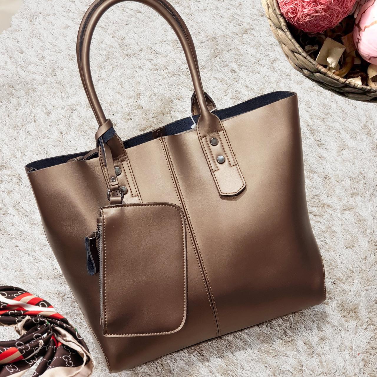 Женская бронзовая сумочка из натуральной кожи