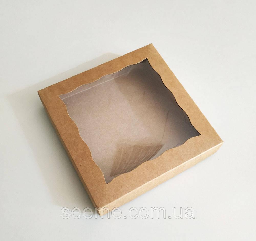Коробка из крафт 3 картона с окошком 150х150х35 мм.