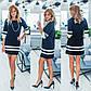 Черно-белое платье-трапеция  с  рукавом 3/4 и жемчужным крашением в подарок, фото 3