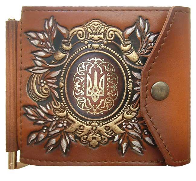 """Зажим для денег (клипкэш) кожаный с гербом Украины на кнопке """"Георгиевский"""". Цвет коричневый"""