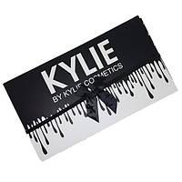 Набор жидких матовых помад Kylie Black edition черный с бантиком 12 штук  | помада Кайли