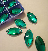 Стразы пришивные Маркиз 9х18 мм Green Zircon, стекло