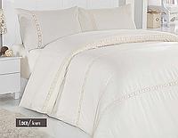 Комплект постельного белья c кружевом Lace Cream сатин люкс Altinbasak Евро