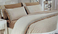 Комплект постельного белья из льна c кружевом Cream Altinbasak Евро