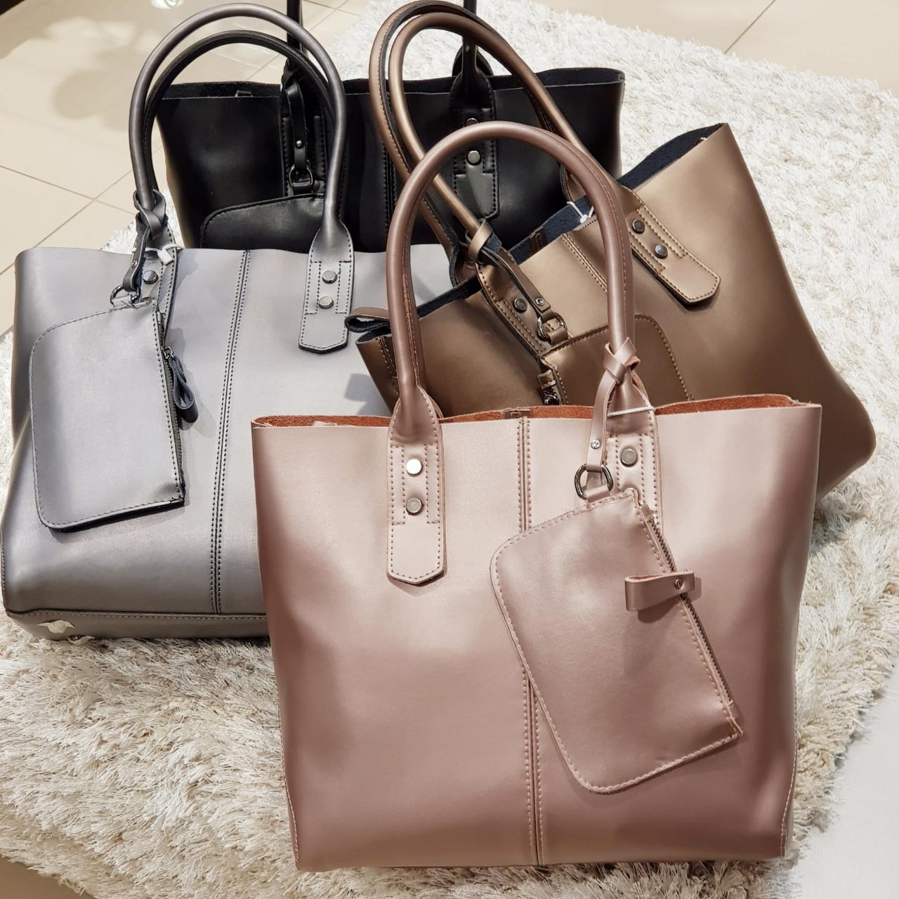 Женская розово-перламутровая сумочка из натуральной кожи большая повседневная