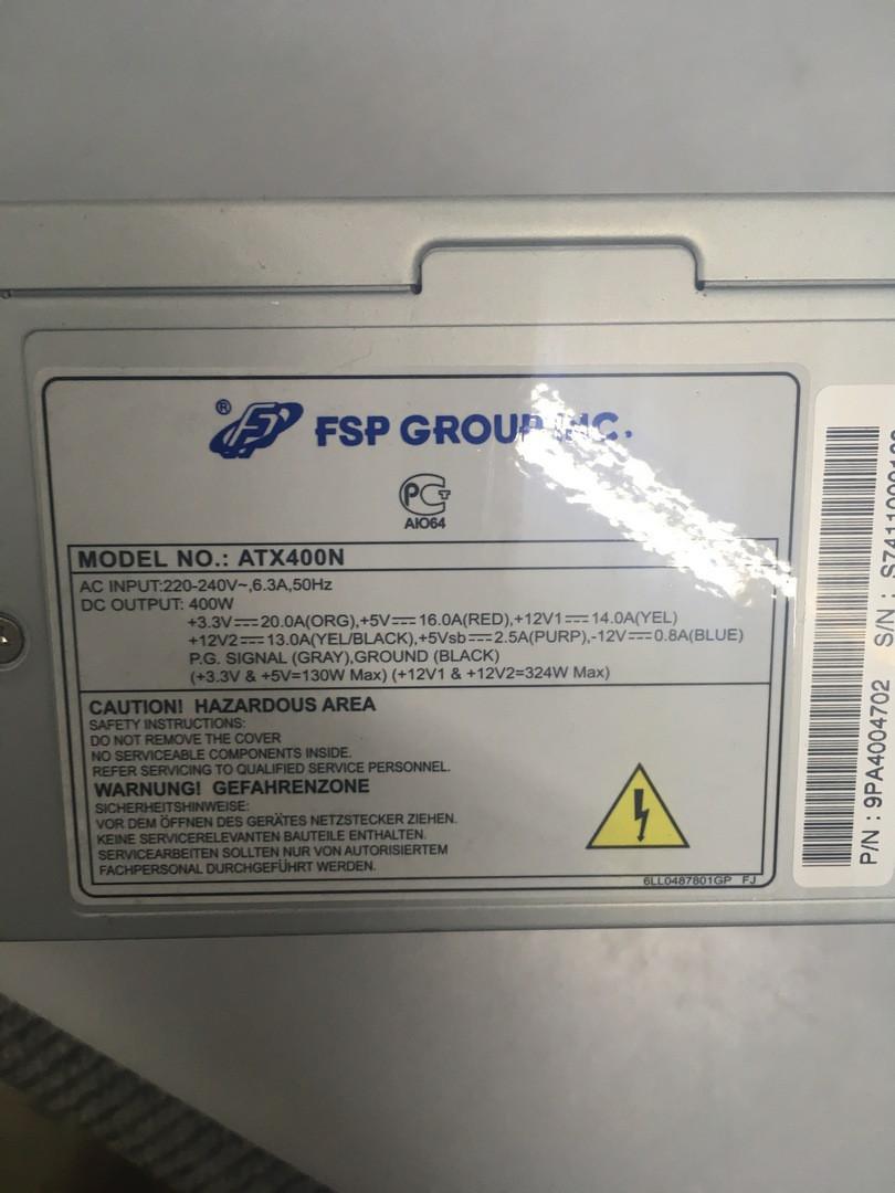 Блок питания FSP ATX-400PNF 400 Ватт, вентилятор 12 см, с автоматической регулировкой оборотов в завис