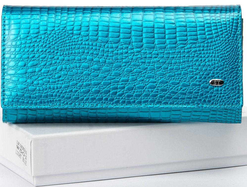 Лаковый кошелек, женский Sergio W501 light-blue, голубой