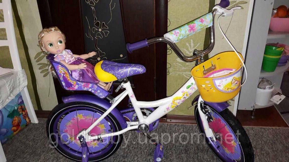 """Велосипед двухколёсный Azimut Girls 18"""" дюймов с корзинкой+сиденье для куклы, фиолетовый ***"""