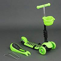 Детский самокат Scooter 3в1 , сиденье, корзинка, Салатовый (4109 А ) ***