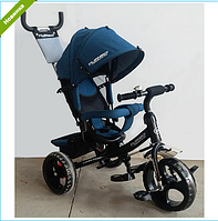 Трехколесный велосипед TURBO TRIKE M 3113J-16 джинсовый с черной рамой , колеса EVA ***