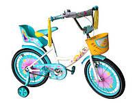 """Велосипед двухколёсный Azimut Girls 18"""" дюймов с корзинкой+сиденье для куклы, фиолетовый ***, фото 1"""