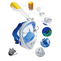 Полнолицевая панорамная маска для плавания FREE BREATH (L/XL) M2068G с креплением для камеры Синий