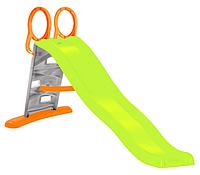 Детская горка игровая пластиковая  205 Mochtoys с лестницей и подключением воды зеленая(горка спуск), фото 1