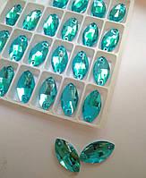 Стразы пришивные Маркиз 9х18 мм Aquamarine, стекло