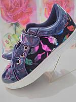 Красивые лаковые туфли-кросовки Листочек для девочек-подростков 30-37/синий, глитер/ кожа стелька, супинатор