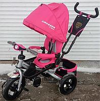 Трехколесный велосипед-коляска Azimut Crosser T-400 розовый на надувных колесах***
