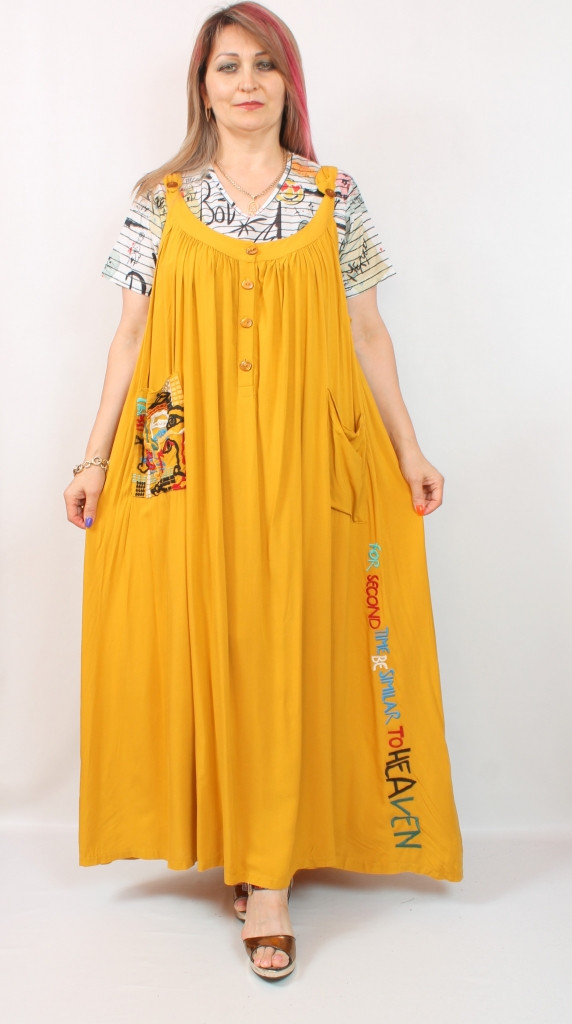 Турецкое летнее желтое женское платье в полоску, 52-64