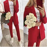 Брючный стильный костюм (брюки и пиджак, красный, ткань - креп костюмка) Размер S, M, L (розница и опт)
