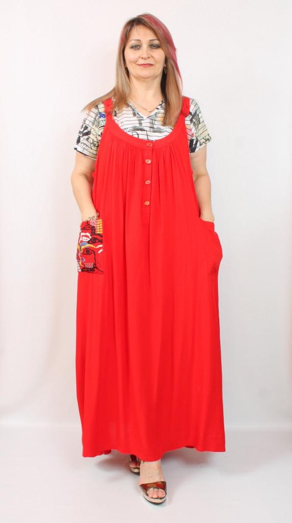 Турецкое летнее красное женское платье, батал 52-64
