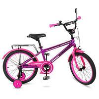 Детский велосипед колеса 18 дюймов PROFI Forward T1877 стальная рама Фиолетовый/Розовый