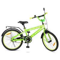 Детский велосипед колеса 20 дюймов PROFI Flash T20173 стальная рама Салатовый