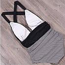 Злитий жіночий купальник чорний в смужку, фото 2