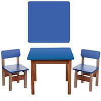 Детский деревяный столик с двумя стульчиками Bambi F095 Синий