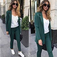 Стильный костюм женский (брюки и пиджак, зеленый, ткань - креп костюмка) Размер S, M, L (розница и опт)